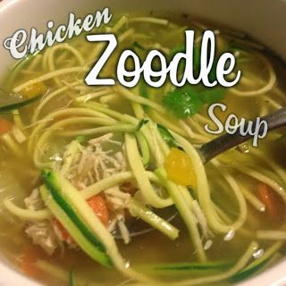 The Busy Broad: Low Carb Chicken Zoodle Soup. Low carb chicken noodle soup alternative