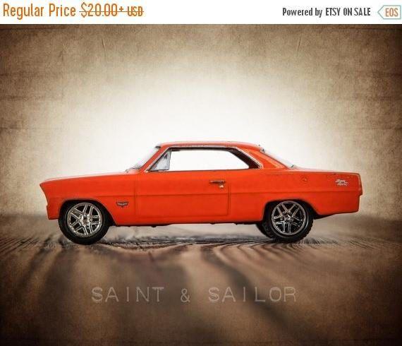 Vintage Muscle Car Photo Print Orange 69 Nova Boys Wall Art Car