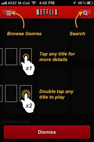Netflix (iPhone) coach marks screenshot