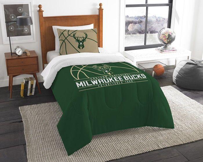 Milwaukee Bucks NBA Reverse Slam Twin Comforter and Sham Set. Includes comforter and 1 sham. Visit SportsFansPlus.com for Details.