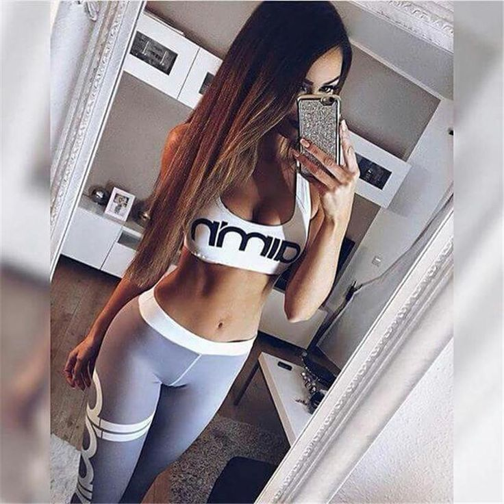 Hot Cheerleader Yoga Pant Porn - New Arrival 2017 Summer Women 2 Pieces Set White Bra Tops Breathable Gray  Leggings Tracksuit Gymming