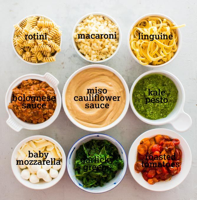 DIY Pasta Bar!  The perfect meal for holiday entertaining.  Complete with a miso cauliflower suace and kale walnut pesto. | http://immaEATthat.com