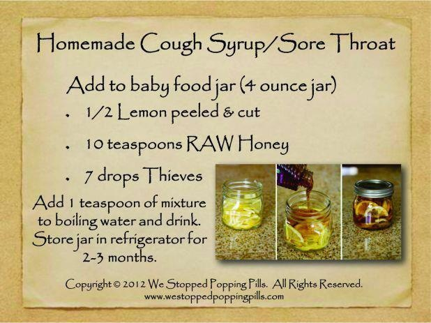 Young Living Essential Oils: Cold Congestion Cough Syrup Sore Throat Recipe: Essential Oil, Cough Remedies, Young Living, Cough Syrup, Living Essential, Medicine Cabinets, Homemade Cough, Sore Throat Remedies, Living Oil
