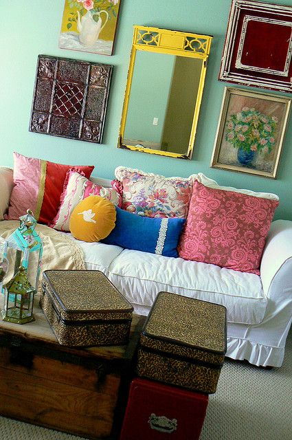 Eclectic wall art & pillows for a boho look