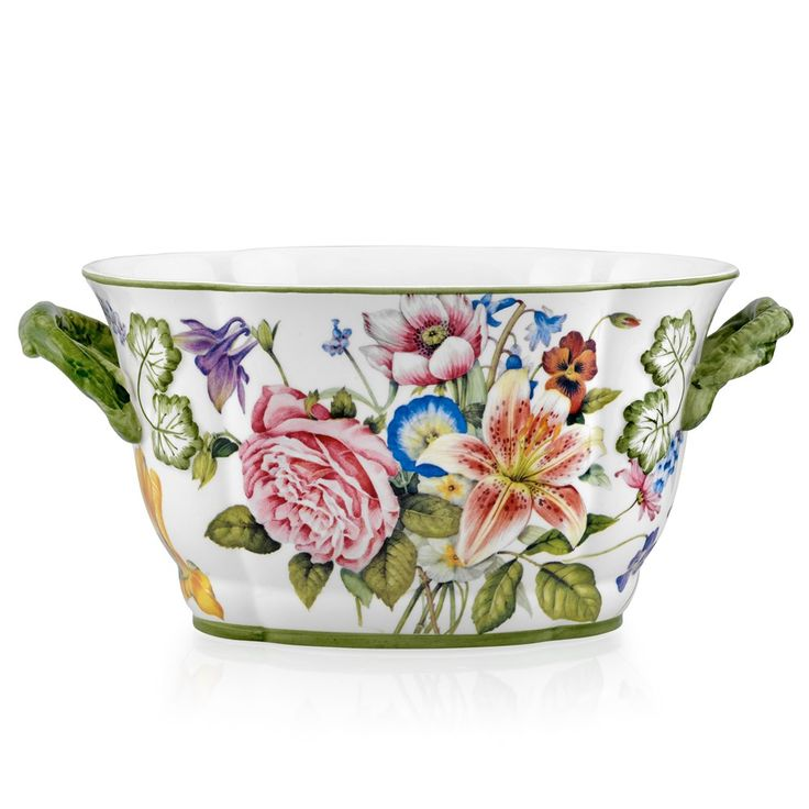 Bouquets with Lily Ceramic Planter, Large