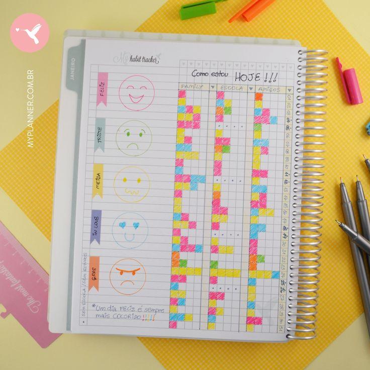 Na página do Habit Tracker do My Planner faça círculos a partir de uma moedinha, na área das linhas. Escolha Stickers Flags para colar e escrever cada humor. Depois pinte cada carinha e desenhe suas expressões. Fica muito divertido e colorido! Utilize a página do Habit Tracker para 'pintar a sua vida'. Separe os quadriculados pelas principais áreas da sua vida, assim poderá ver como estava em cada assunto naquele dia do mês My Planner.