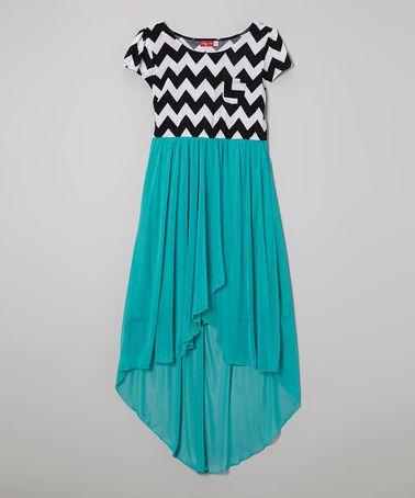 Jade & Black Zigzag Hi-Low Dress by Ruby Rox #zulily #zulilyfinds