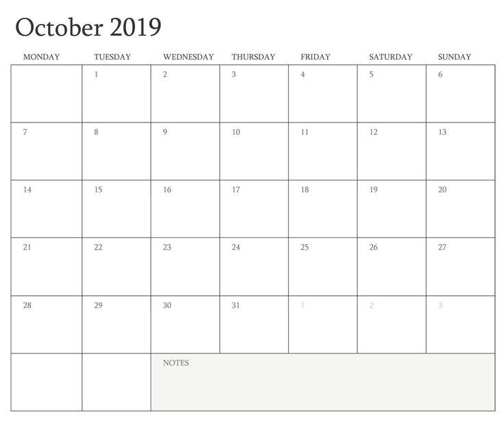 October 2019 Blank Calendar September Calendar Calendar Printables Calendar Template