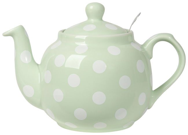 "London Pottery Company Farmhouse Teapot: Mint White SpotsFancy a spot of tea? The classic shape, stylish mint color and polka-dot design make this quart-size teapot ""spot on"" wherever you pour tea. Its rounded body, dripless spout and cool, comfortable handle help you brew the perfect cuppa. Removable stainless steel strainer ensures easy clean up of loose tea and tea bags. Ceramic"