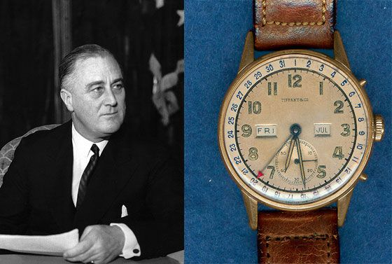 Franklin Delano Roosevelt and his Tiffany watch with Movado movement (watch photo courtesy of NAWCC)