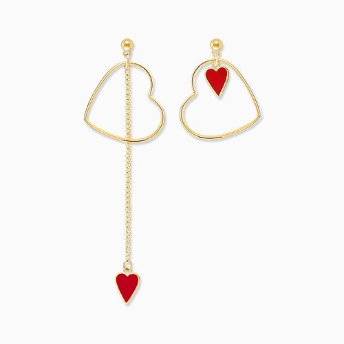 1045752 - <ER1340_CE08> [Silver Post] Unbalanced Red heart earrings