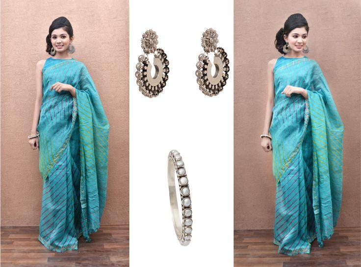 Rock the six yards with Zoyashi's Turquoise Blue Lehariya Chanderi Saree this festive season. INR- 3700