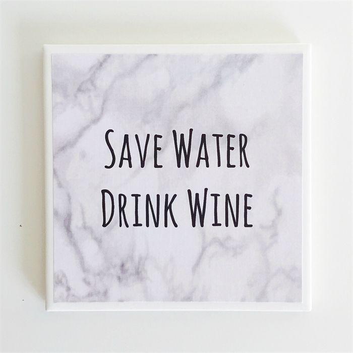 Wine Quote Coaster - 1 Marble Ceramic Tile Drink Coaster | Studio Astratta | madeit.com.au