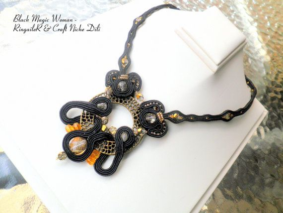 Soutache necklace Black Magic Woman by CraftNicheDili on Etsy, €85.00