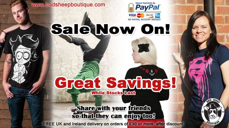Bad Sheep Boutique Jan Sale 2014. Lots of great bargains! Sale ends Jan 31st 2014. #sale #bargains #jansale #discounts #alternative