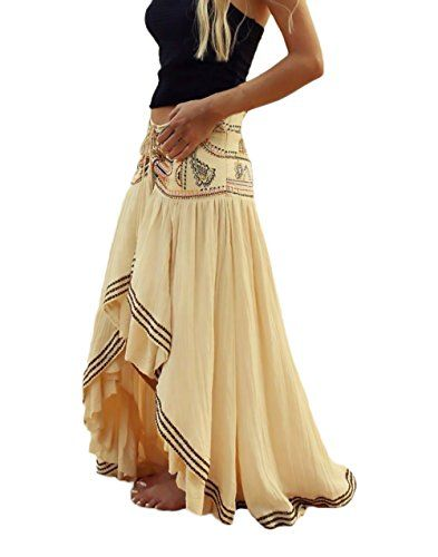 1213dd8c554957 Mujer Faldas Largas Verano Playa Elegantes Vintage Hippies Boho Impresa Falda  Cintura Alta Irregular Dobladillo Falda Plisada Ropa Fiesta…