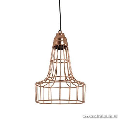 Trendy koper draad hanglamp babette www straluma nl