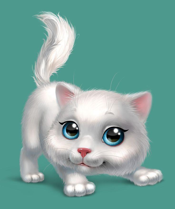 Картинка с котиком мультяшка