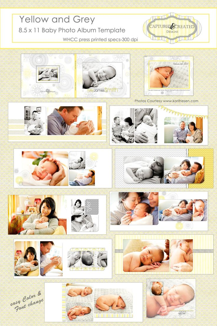 Yellow and Grey  Baby Photo Album by Captured and Created on @creativemarket