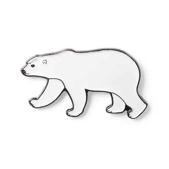 Polar Bear metal enamel pin badge arctic  white polar bear wildlife