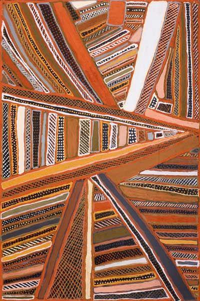 Jean Baptiste Apuatimi / Purrikuparri jilamara – Old bark design 2008  Natural ochres on linen