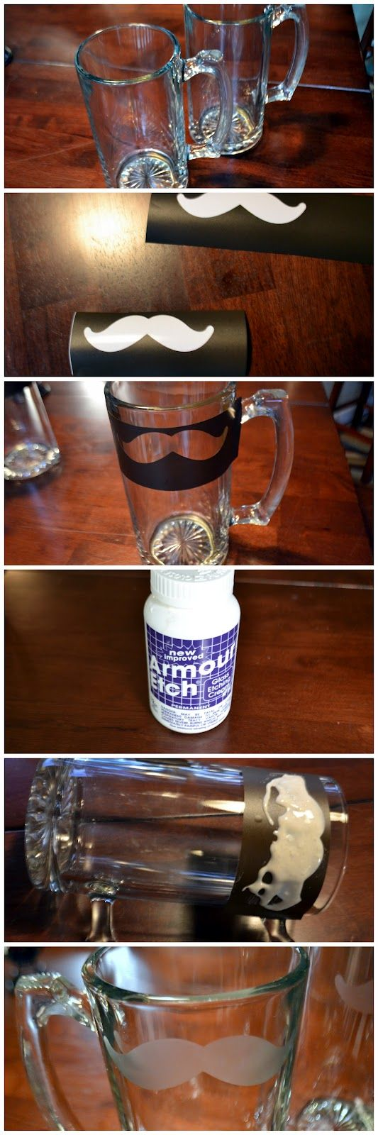 Detours With Michelle: Beer Mug Etching {already have the cricut mustache cart, beer mugs are $1 at Dollar Tree.}