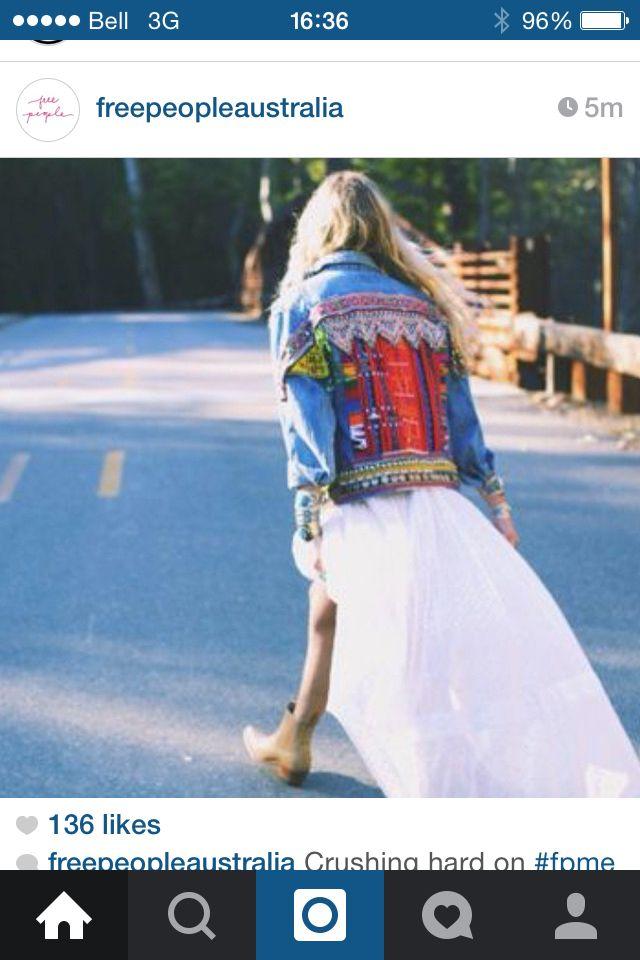 Veste de jeans patcher hippie