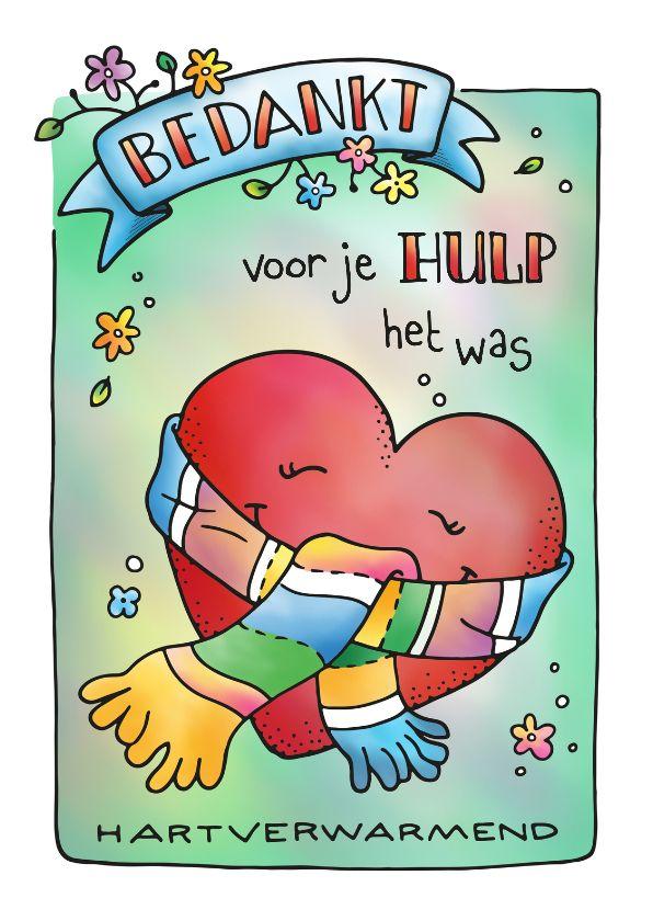 Hartverwarmend bedankje voor hulp, steun of vul zelf maar in. Verkrijgbaar bij #kaartje2go - handlettering, doodle, illustratie