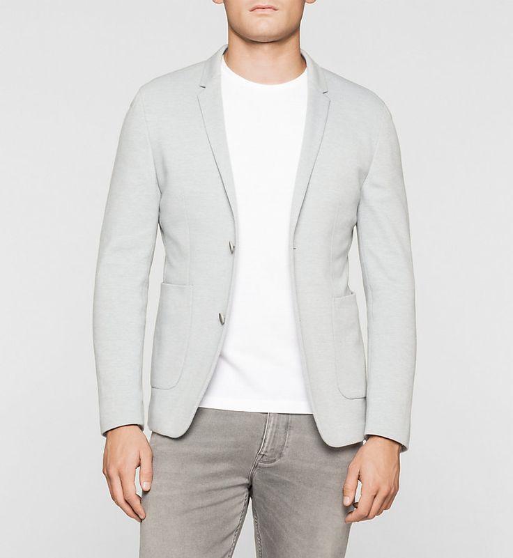 CALVINKLEIN Fitted Cotton Piqué Blazer - MEDIUM GREY - CALVIN KLEIN BLAZERS - main image