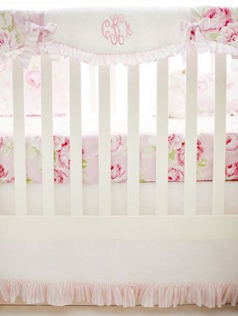 Pink Floral Crib Rail Guard | Pink Desert Rose Crib Collection