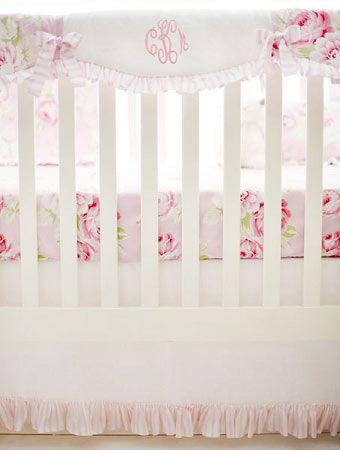 Pink Floral Crib Rail Guard  |  Pink Desert Rose Crib Collection