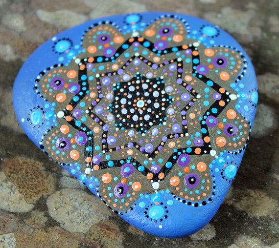 mandala rocks, mandala stone, painted rock, meditation stone, unique stone art, zen rock art, cailloux peints, boho art, reiki stone