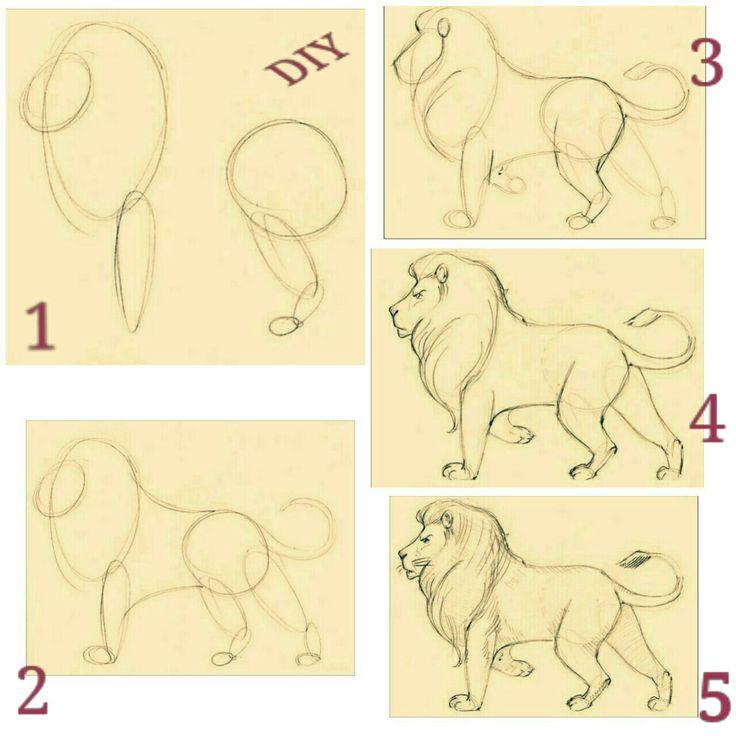León, Lion, Dibujo, Diy, Drawing
