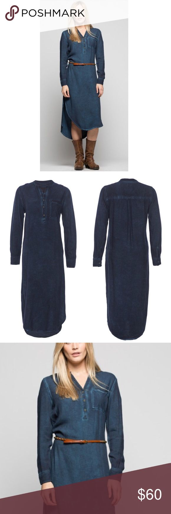 Popover long sleeve navy shirt dress NEW A popover half placket maxi shirt dress in a woven rayon fabric with a cold pigment dye. Belt is NOT included 😞 100% rayon One pocket body  Imported                                                                 size Medium Jachs Dresses Midi