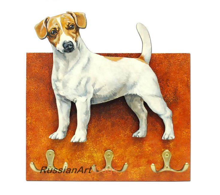 Jack Russell Terrier  dog Hanger / holder leashes, ANY COLOR figurine, rack key of wood, handmade, acrylic paint by RussianArtDogs on Etsy