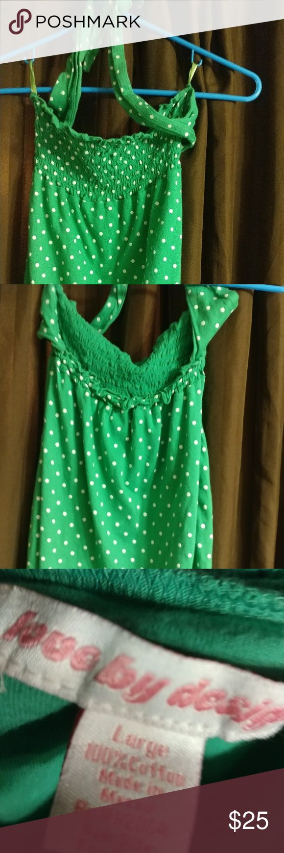 Green and white polka-dot top Really cute green and white polka dot top crop top tie around neck size large love by design Tops Crop Tops