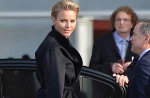 Présentation des six athlètes monégasques en partance pour les JO de Sotchi, en présence du prince Albert de Monaco et de la princesse Charlene, le 29 janvier 2...