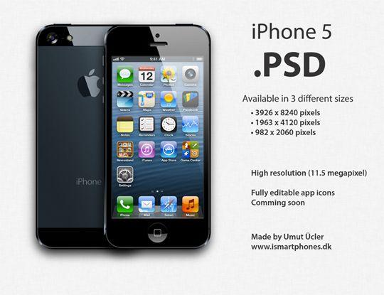 Free iPhone 5 PSD Templates: Latest iPhone 5 PSD Mockup Templates