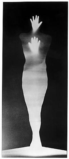 """Bruce Conner's """"Sound of Two Hand Angel,"""" 1974. photogram"""