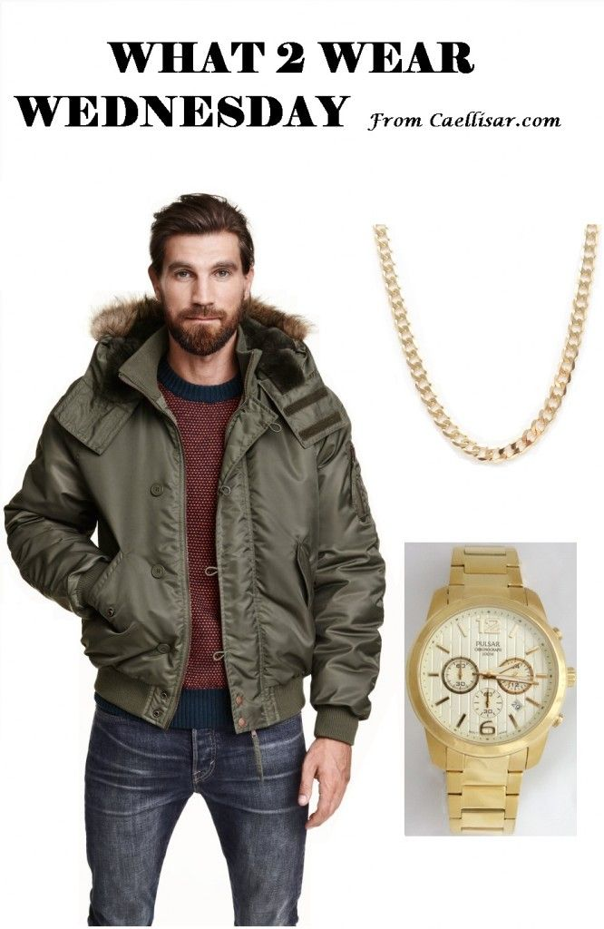 * Green bomber jackets are a big trend this fall in men's fashion.  Pair it with this 14k Yellow Gold Chain From Italy and this  Men's Pulsar Chronograph Gold Tone Watch.