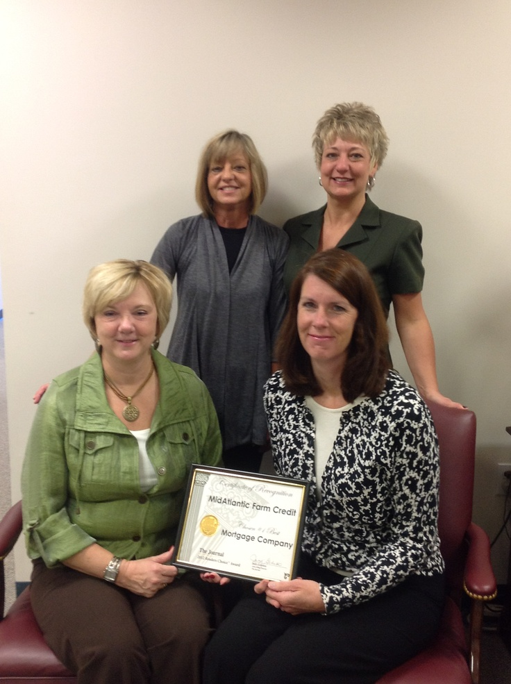 """We're excited that our Country Mortgages program has been chosen as """"Best Mortgage Provider"""" by the readers of The Martinsburg Journal (WV)! Pictured below are a few of our employees, Marcia Blaylock, Ruth Boden, Debbie Strawderman and Ronda Grove."""