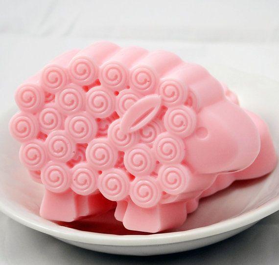 Rose Sheep Soap Rose Jasmine Scent Goats Milk by LostRiverRags