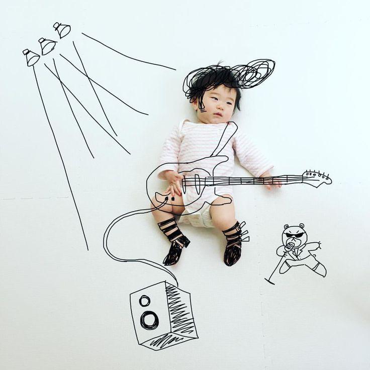 《ろけんろー》 . . #赤ちゃん#赤ちゃんアート #落書き #ロックンロール