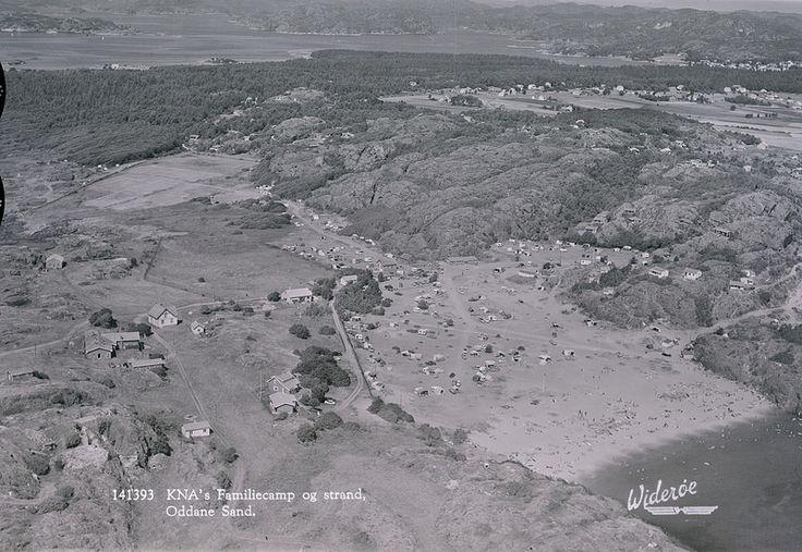 Oddane Sand, Brunlanes, Larvik. KNAs familiecamping og strand. Tatt ca 1963. WF.HL.141393