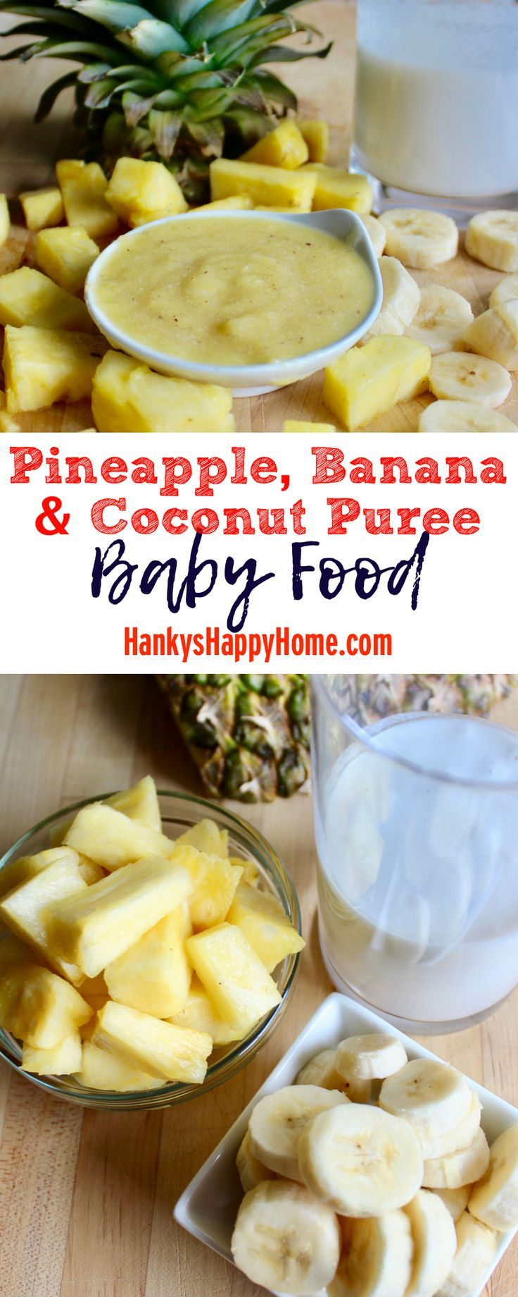 This quick and easy Pineapple, Banana & Coconut Puree tastes like summer and requires no cooking whatsoever.