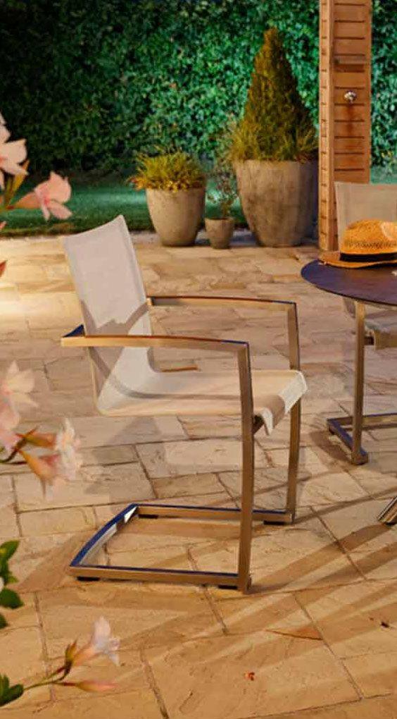 Vintage Moderner Gartenstuhl Freischwinger f r den Garten Diamond Garden Venedig aus Edelstahl und Textilene
