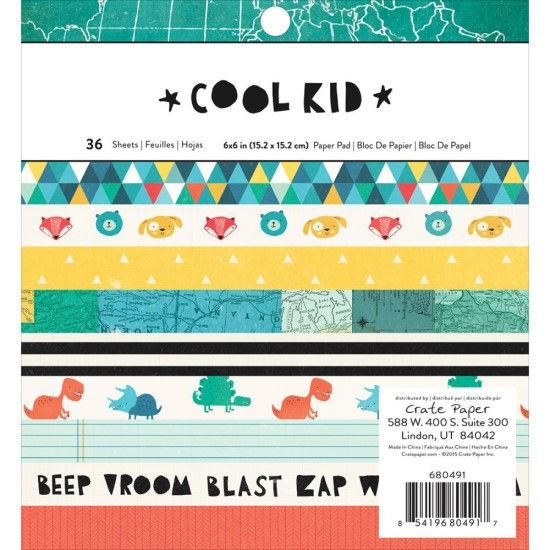 Crate Paper Cool Kid - Single-Sided Paper Pad 6x6inch