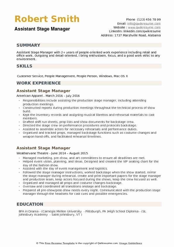 Production Assistant Job Description Resume Luxury Stage Manager Resume Template Assistant Jobs Good Work Ethic How To Be Outgoing