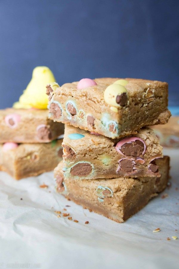 Peanut Butter and Chocolate Egg Blondies by I Wash...You Dry