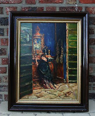 Flemish Vintage 60's Oil on cardboard Religious painting madonna praying signed